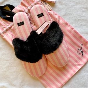 VS STRIPED SATIN & FUR SLIPPERS